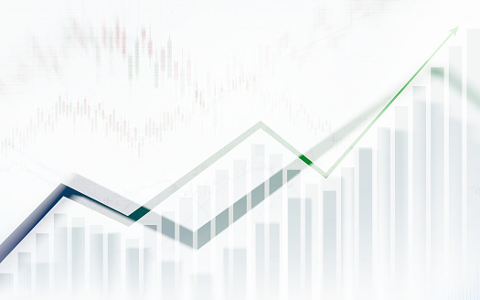 859246828 istock photo Abstract financial chart with graph in Double exposure style on white color background 863467282