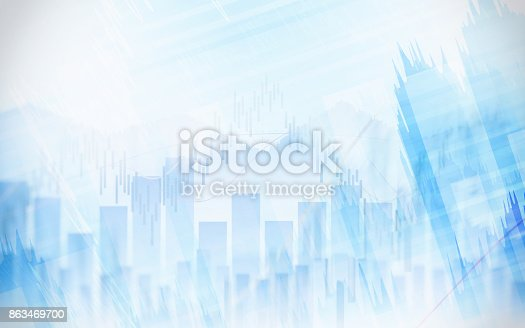 863469700 istock photo Abstract financial chart with graph in Double exposure style on white color background 863469700