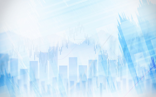 istock Abstract financial chart with graph in Double exposure style on white color background 863469700