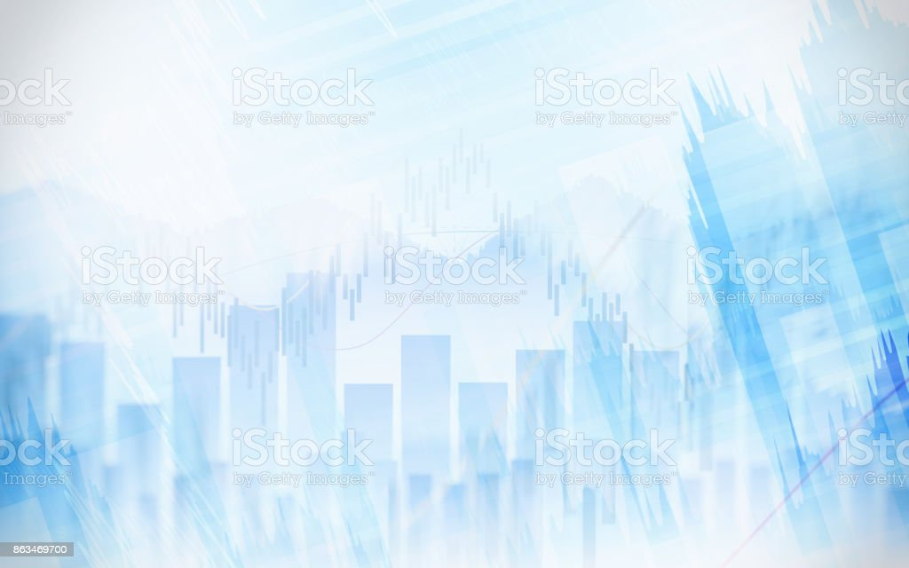 Abstract financial chart with graph in Double exposure style on white color background stock photo