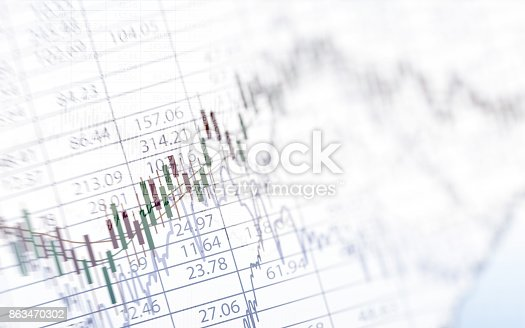 istock Abstract financial chart with graph in Double exposure style on white color background 863470302