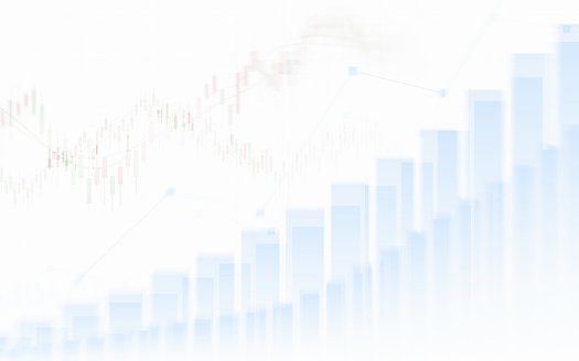 859246828 istock photo Abstract financial chart with graph in Double exposure style on white color background 863472896