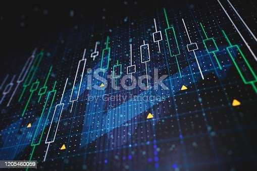 1014755036 istock photo Abstract financial charts with upward arrow on a blue background. 3D Rendering 1205460059