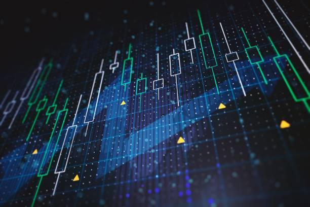 abstrakte finanzdiagramme mit aufwärtspfeil auf blauem hintergrund. 3d-rendering - börse stock-fotos und bilder