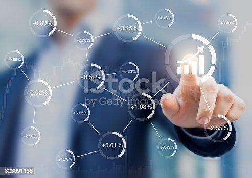 istock Abstract financial concept, successful stock market, investor toouching chart 628091188
