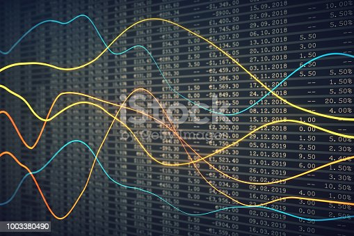 istock Abstract financial data line chart with spreadsheet 1003380490