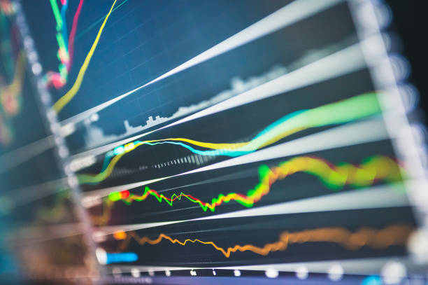 Abstract financial graph Leading indicator to turanaround form business crisis with uptrend market  in stock market on blue colour background stock photo