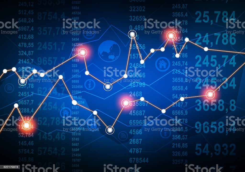 abstract financial graph on background of falling numbers. stock photo