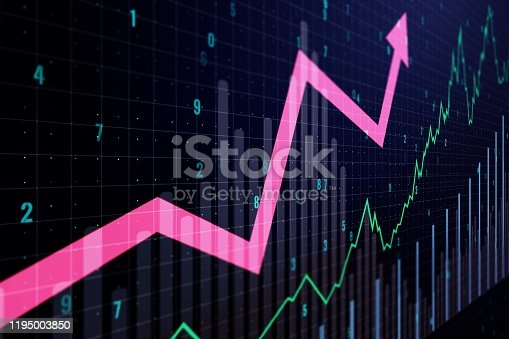 1014755036 istock photo Abstract financial graph with a growing arrow. 3D Rendering 1195003850