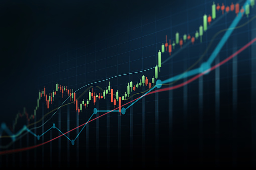 Abstract financial graph with up trend line candlestick chart in stock market on blue colour background