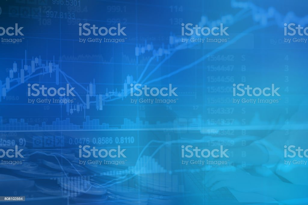 Abstract financial stock numbers chart with graph and business woman in Double exposure style background stock photo