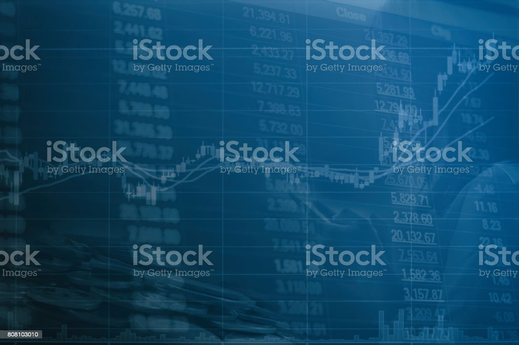 Abstract financial stock numbers chart with graph and business woman hand in Double exposure style background stock photo