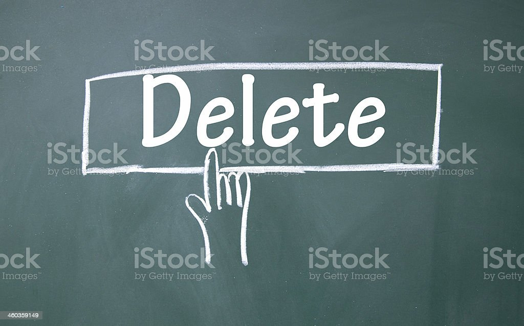 abstract finger click delete sign stock photo