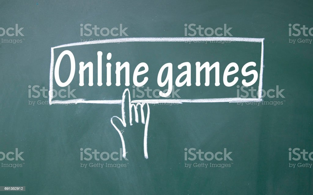 abstract finger click online games sign stock photo
