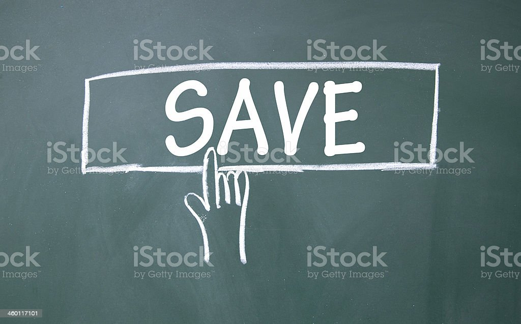 abstract finger click save sign stock photo