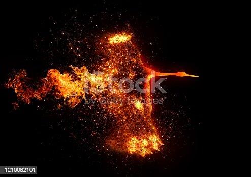 998287586 istock photo Abstract fire bird flies over dark 1210082101
