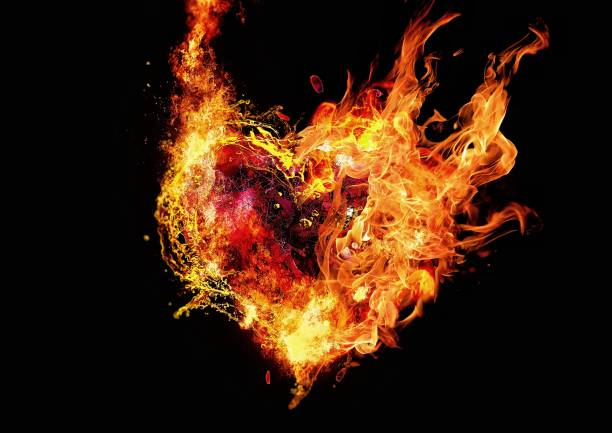 Abstract fire heart illuminating the dark Abstract fire heart illuminating the dark passion stock pictures, royalty-free photos & images