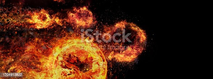 1067101542 istock photo Abstract fireballs flying at tremendous speed 1204913822