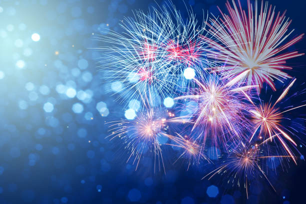 abstract fireworks celebration on bokeh festive  light background - firework display stock pictures, royalty-free photos & images