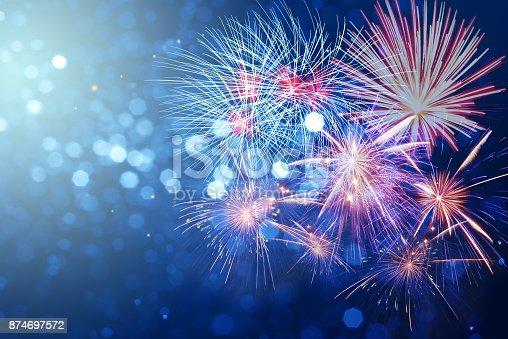 Rainbow Fireworks Celebration Colorful Abstract Image With: Abstract Fireworks Celebration On Bokeh Festive Light