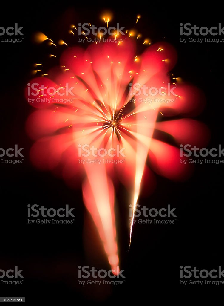 Abstract Fireworks in the Night Sky royalty-free stock photo