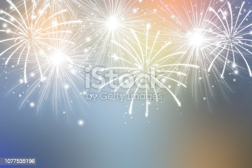 Abstract fireworks on colors background. Celebration wallpaper.