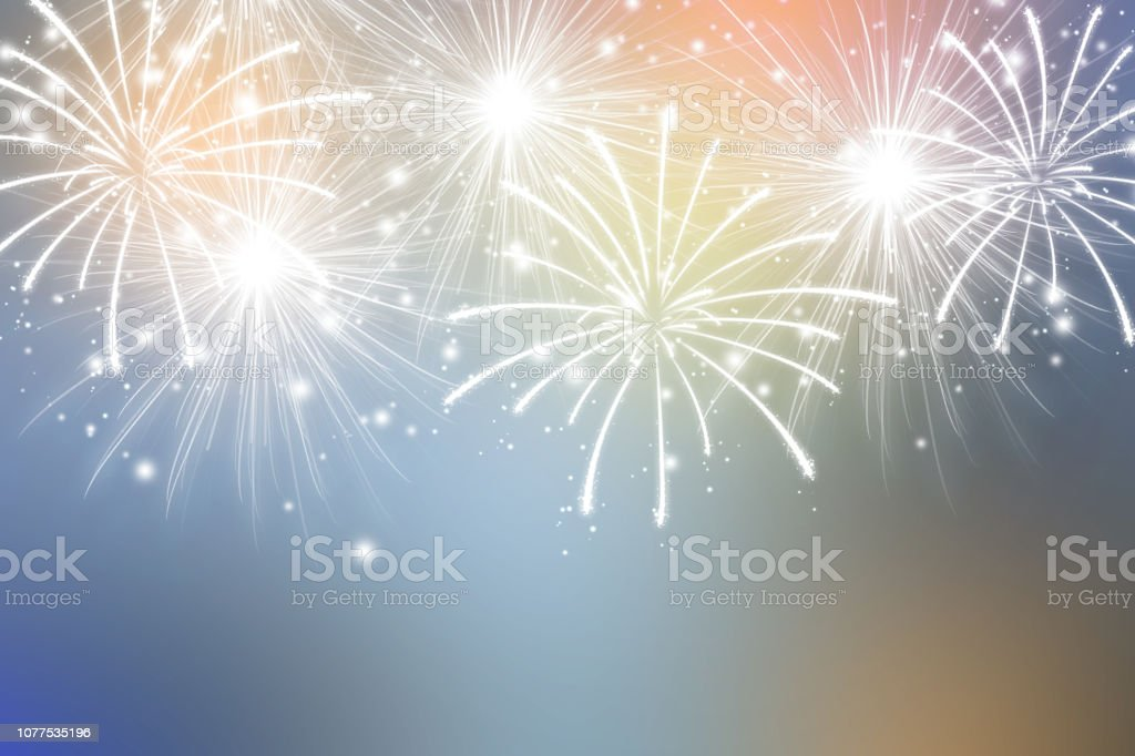 Abstract fireworks on colors background. Celebration wallpaper. stock photo