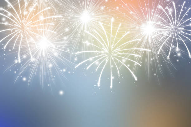 abstract fireworks on colors background. celebration wallpaper. - anniversary stock pictures, royalty-free photos & images