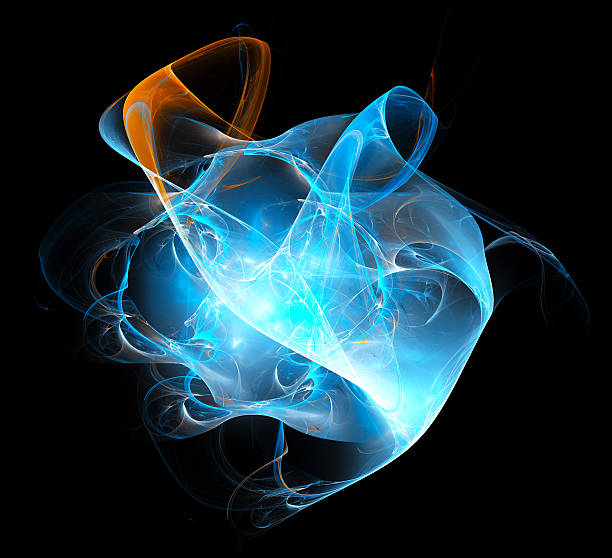 Abstract Flaming Sphere On Black stock photo