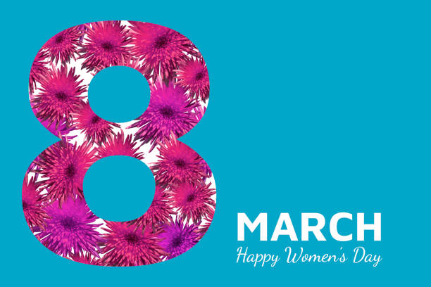 Abstract floral greeting card. Pink paper flowers 8 March on blue background. Happy Women's Day. stock photo