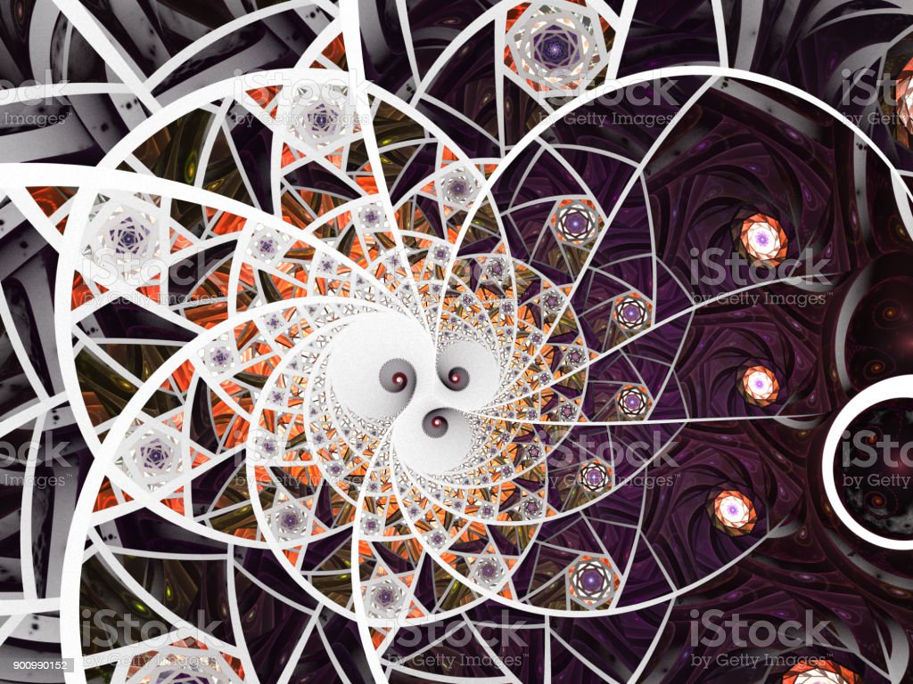 Abstract floral mosaic stain glass composition in purple and grey tone stock photo