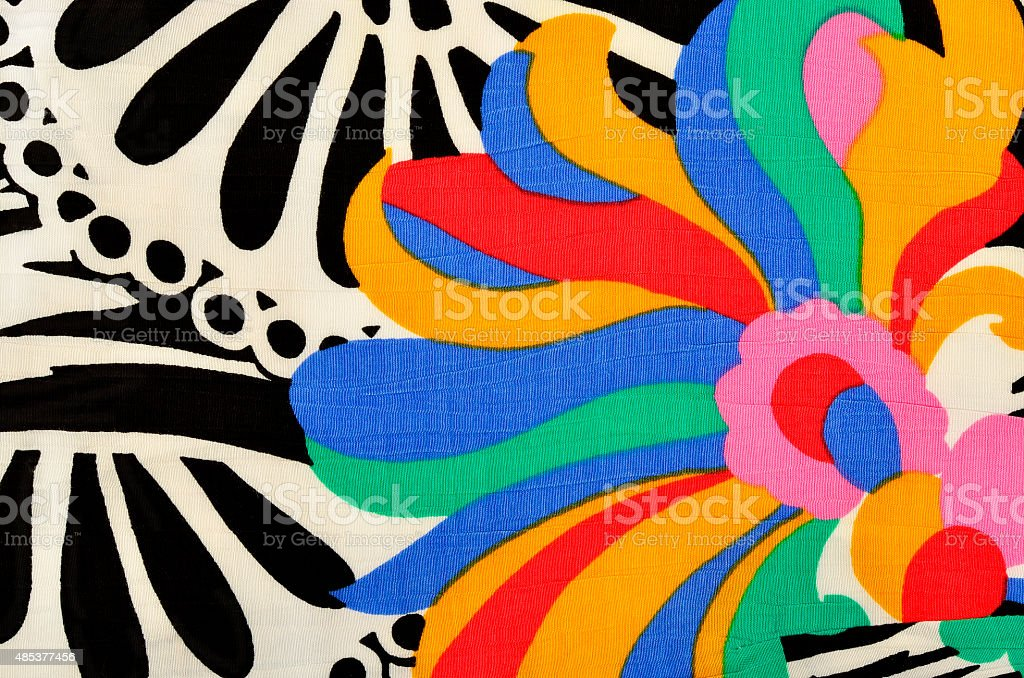 Abstract flower and circles pattern on fabric. stock photo