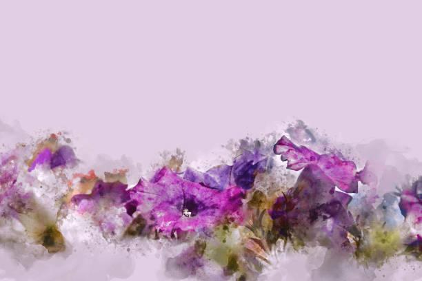 abstrakte blume auf bunte aquarell hintergrund und digitale illustration bürste zur kunst. - blumenstreifen stock-fotos und bilder