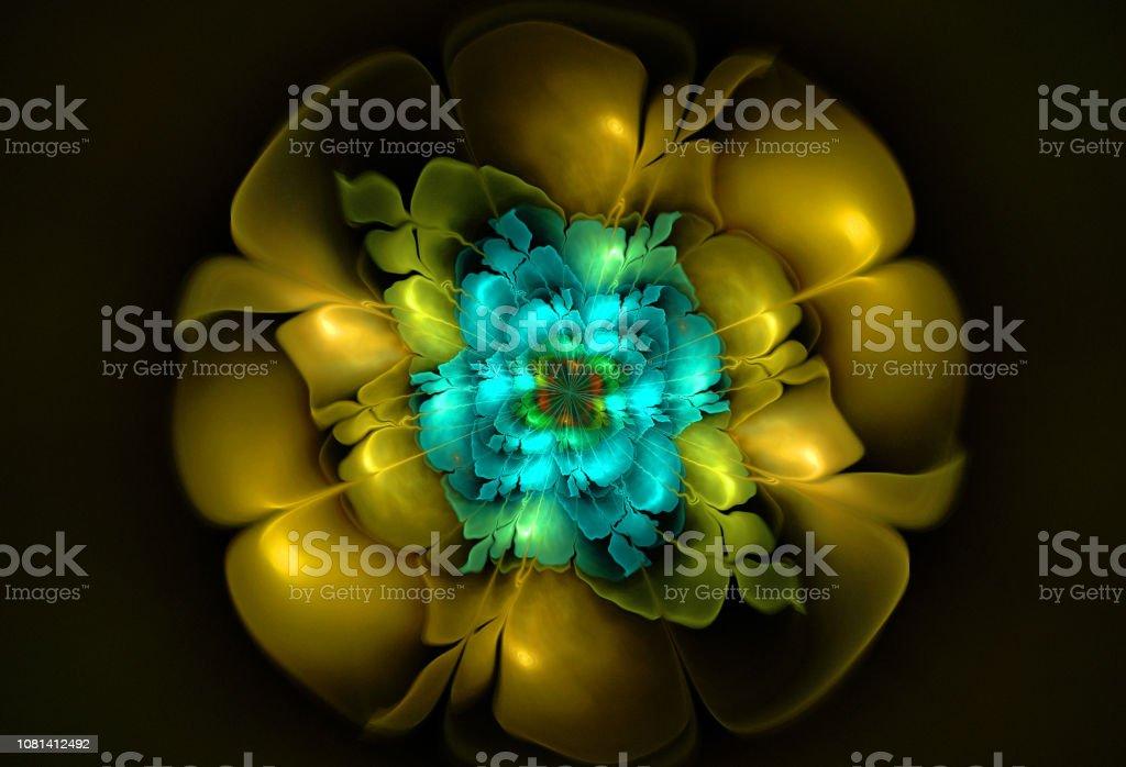 Abstrakte Blumen Compute generierte Bild auf schwarzem Hintergrund – Foto