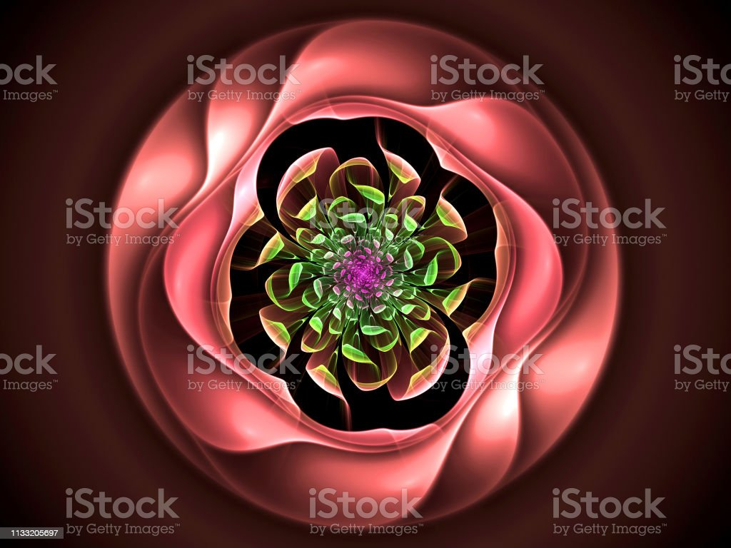 Abstrakte Blumenberechnung generiertes Bild auf schwarzem Hintergrund – Foto