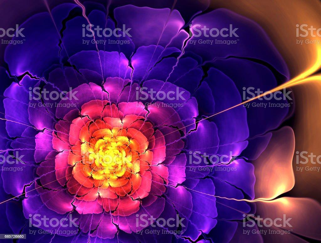 검은 배경에 초록 꽃 계산 생성 된 이미지 royalty-free 스톡 사진