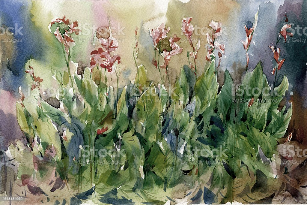 Abstract Flowers Watercolor Painting Spring Stockfoto Und