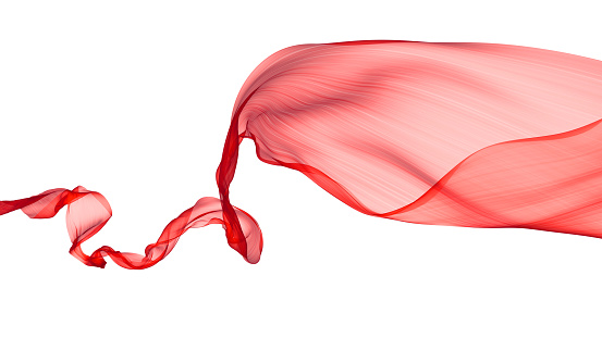 Abstract flowing red satin an a white background