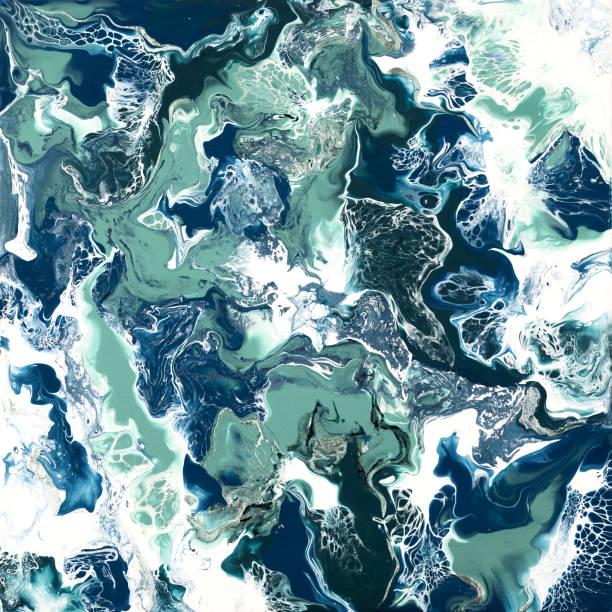 Abstrakte Fluid-Kunst Acryl gießen blau und grün Schattierungen Hintergrund. Bunte Tapete. – Foto