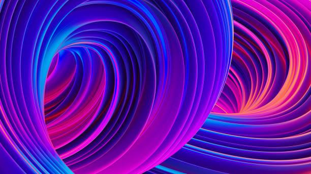3d abstrait fluide avec des formes liquides holographiques en mouvement - Photo