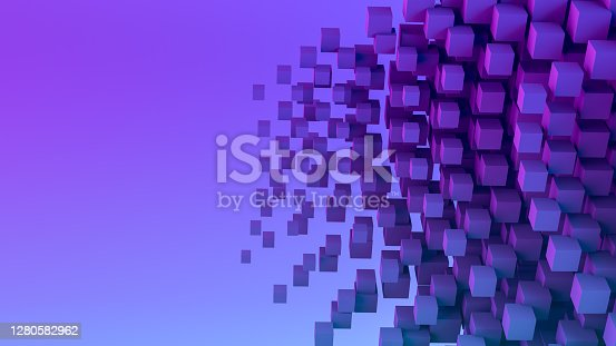 istock Abstract Flying Cubes, Geometric Shapes Background, Neon Lighting 1280582962