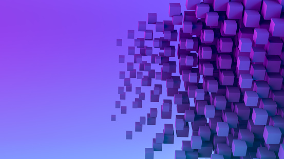 Abstract 3d rendering Flying Geometric Shapes Background, Business, Teamwork , technology concept. Neon Lighting.