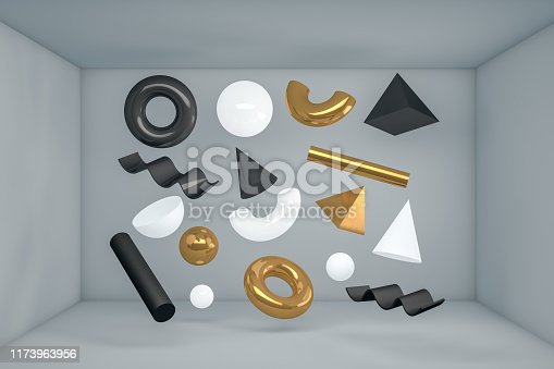 479257178istockphoto 3D Abstract Flying Geometric Shapes in Gray Room 1173963956