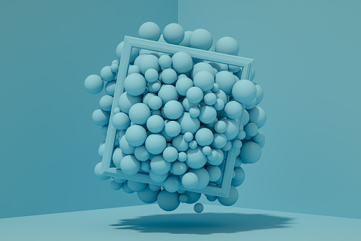 3D Abstract Flying Spheres with Frame on Blue Background