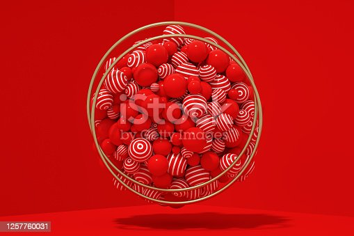 1136239089 istock photo 3D Abstract Flying Spheres with Frame on Red Background, Christmas, New Year Concept 1257760031