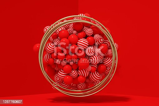 1136239089 istock photo 3D Abstract Flying Spheres with Frame on Red Background, Christmas, New Year Concept 1257760607