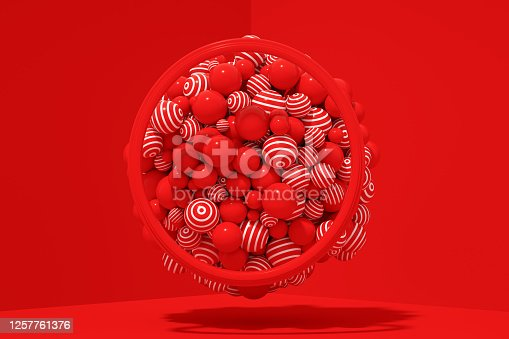 1136239089 istock photo 3D Abstract Flying Spheres with Frame on Red Background, Christmas, New Year Concept 1257761376