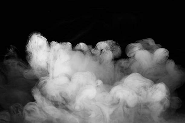 abstract fog or smoke move on black color background - thick stock pictures, royalty-free photos & images