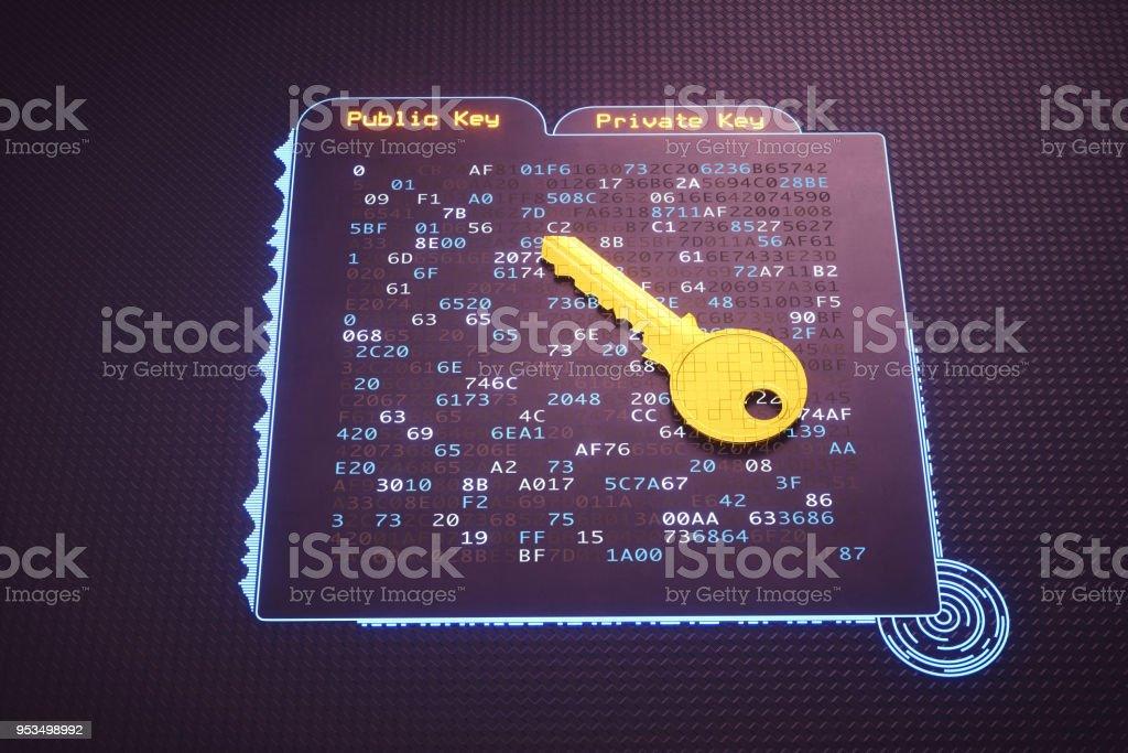 Abstrakte Ordner Interface mit goldenen Schlüssel – Foto