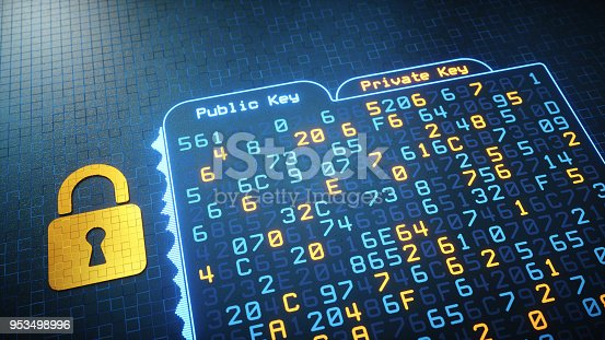 A digital interface showing a folder with cryptographic hash data written in hexadecimal computer code. A golden pixelated padlock is lying besides it.  This image represents a conceptual design in the domain of IT, cyberspace, cyber security, global communications or similar industry sectors. The image is a made up 3D concept render.